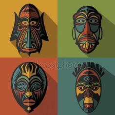 Set of African Ethnic Tribal masks on colour background — Stock Illustration Tiki Maske, African Art Projects, Alien Drawings, African Symbols, African Colors, African Art Paintings, Arte Tribal, Africa Art, Masks Art
