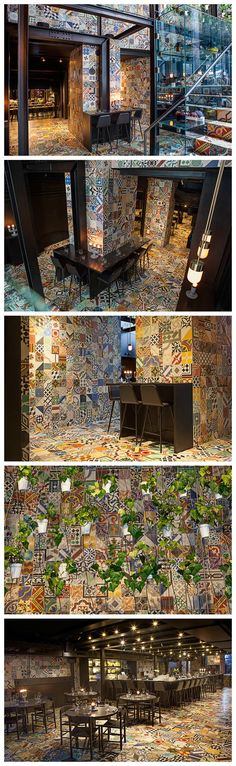 Llama, a South American restaurant in Copenhagen is completely covered in decorative handcrafted Mexican cement tiles - a sea of pattern. The creative minds behind the project aimed to tie together traditional Latin American vernacular and contemporary Copenhagen. https://www.jovoto.com/blog/creatives/interior-design-and-architecture-around-the-world/?utm_source=pinterest.com&utm_campaign=cm16pincontent&utm_medium=social&utm_content=80days Latin America Restaurant, South Restaurant, Mexican Restaurant Design, Mexican Interior Design, Coffee Shop Interior Design, American Restaurant, Mexican Designs, Restaurant Interior Design, Seafood Restaurant