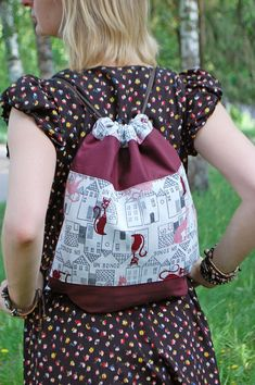 Dark Red Drawstring Backpack for Crazy Cat Lady Pet Owner