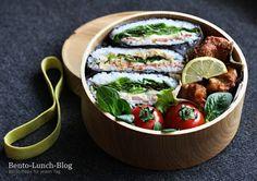 Bento Lunch Blog: Bento #167: Onigirazu und Tofu-Karaage