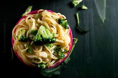 Linguine with Broccoli and Creamy Parmesan Sauce - Meastless Mondays