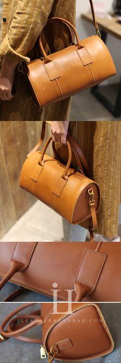 Handmade Genuine Leather Boston Bag Handbag Shoulder Bag Crossbody Bag Purse Clutch For Women