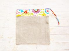 Linen cosmetic bag make up pouch pencils case rustic cute flowers bear bird sand yellow green lilac blue zipper pouch wallet purse gift by poppyshome on Etsy