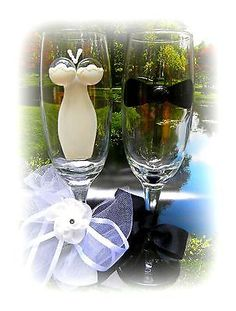 #Bride and groom #wedding wine #champagne glasses bridesmaid flutes hand painted,  View more on the LINK: 	http://www.zeppy.io/product/gb/2/120956683775/