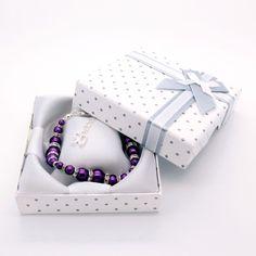 Cadburty Purple 'Graduated Glass Pearl & Rhinestone' bracelet