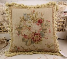 "18"" Vintage Chic Shabby Floral House Sofa Chair Decorative Needlepoint Pillow #Handmade"