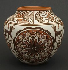 Pottery Vase by Noreen Simlicio (Zuni) Native American Beauty, Native American Pottery, Native American Artifacts, Native American Tribes, Pottery Pots, Ceramic Pottery, Southwest Art, Southwest Pottery, Navajo Art