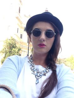 Hat, sunglasses, necklace, blue, pink, spring