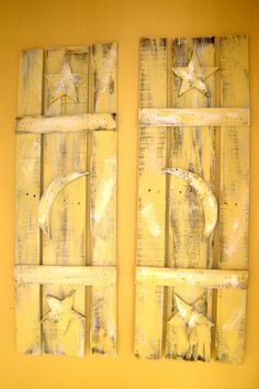Repurposing Wood Shutters | Shutters Hand Crafted From Old Barn Wood Embellished With Moon & Stars