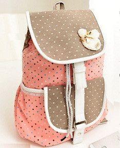 2015 Canvas Polka Dot String Women Backpacks School Bags for Teenager Girls Bolsas Mochilas Escolares Femininas Rucksacks