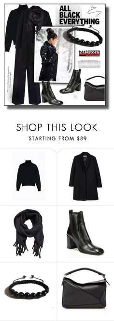 """""""Mission Monochrome: All-Black Outfit"""" by zenstore ❤ liked on Polyvore featuring Hamadi, MANGO, Via Spiga, Shamballa Jewels, Loewe, Fountain and allblackoutfit"""