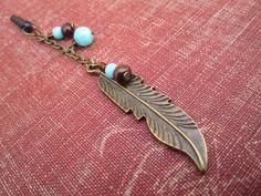 Beaded Bronze Feather iPhone Charm (Dust Plug) on Etsy, $10.00