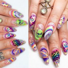 Nail art is a very popular trend these days and every woman you meet seems to have beautiful nails. It used to be that women would just go get a manicure or pedicure to get their nails trimmed and shaped with just a few coats of plain nail polish. Hair And Nails, My Nails, Hard Gel Nails, Alien Nails, Unicorn Nails Designs, Kawaii Nails, Best Acrylic Nails, Dream Nails, Dope Nails