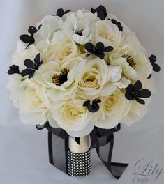 17pcs Silk Flower Wedding Bridal Bouquet by LilyOfAngeles on Etsy, $209.99