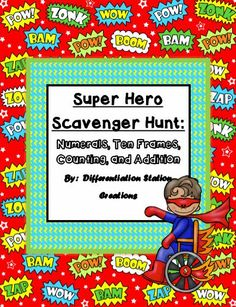 It seems like every child loves super heroes! I had to make some super hero activities for my daughte. Kindergarten Math Activities, Kindergarten Teachers, Fun Math, Preschool Worksheets, Educational Activities, Maths, Superhero Classroom Theme, Classroom Themes, Math Superhero