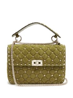 Click here to buy Valentino Rockstud Spike medium quilted-suede shoulder bag at MATCHESFASHION.COM