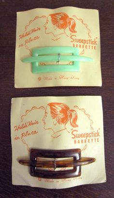 These totally gorgeous hair barettes come complete with their original 1950's-1960's packaging.