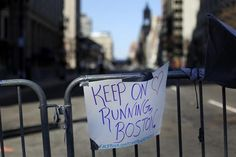 Boston, MA - 4/17/13 - A sign hangs on a barricade to Boylston Street at Berkeley Street. Looking towards scene of the bombing. (Globe staff photo / Bill Greene) section:metro, topic: 18bomb