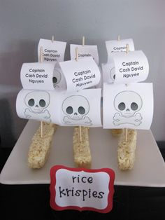 Pirate Food ideas. Sail using toothpicks and paper. Coming to a pirate themed party near you.