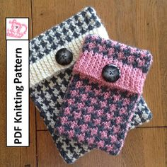 ************* This listing is for a knitting pattern only ***************  Houndstooth check cover Personalize and protect your device with this quick to knit cover/case. Choose two shades of your favorite yarn for this classic pattern. They make great gifts and dont need much yarn use up your stash!!  Ideal for a beginner knitter who is ready to tackle a simple two color stranded colorwork pattern, this cover is knit as one piece, and requires knowledge of knit and purl stitches only. Knit…