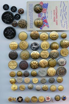 SOLD: Large  lot of various uniform buttons antique and vintage buttons