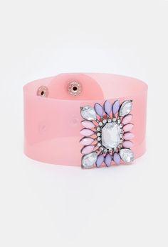 Manchette en plastique rose de New Look