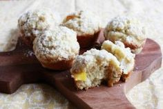 Peach cobbler muffins with crumb topping.  Heck yeah! by shauna