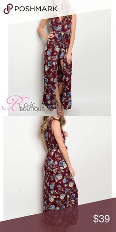 """S-L Floral Maxi Romper Sleeveless Floral Maxi Romper featuring a plunging v neckline. Made of 100% polyester. Measurements for small length 51"""" Bust 34"""" Waist 26"""" Bchic Pants Jumpsuits & Rompers"""
