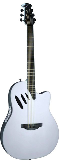 """White Ovation Guitar! SWEET! Owned the original """"Ballader"""" modle back in 73', then bought the 1983 limited edition model """"B"""" w/""""1983"""" embossed with mother of pearl on the neck. Only 2000 of them made! Ovations rock! #OvationGuitars"""