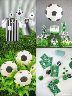 World Cup Party Ideas: Soccer Football Inspired Party Desserts Table - perfect for boys birthday or to celebrate the 2014 Fifa World Cup in Brazil!!