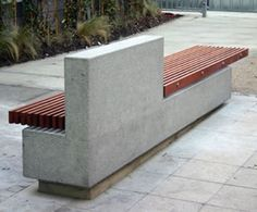 SOCA bench, hardwood slats and concrete base