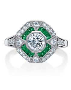 Armadani Platinum, Diamond, and Emerald Ring
