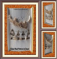 Christmas Book Folding pattern - Christmas Scene by JHBookFoldPatterns on Etsy Book Folding Patterns, Paper Folding, Christmas Books, Bookmarks, Origami, Scene, Pdf, Decoration, Frame