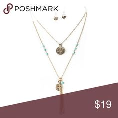 """Beaded Chain with Medallion Chain Set Turquoise beaded chain with medallion chain set in antique gold. Boho chic with a vintage accent. Matching fish hook earrings.  Apprx-18"""" length Classic Paper Doll Jewelry Necklaces"""