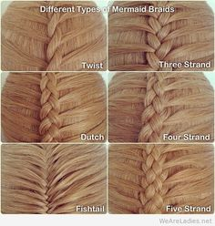 Different types of mermaid braids