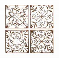 Square Brushed 3D Relief Metal Wall Art - Tuscan Scrolls