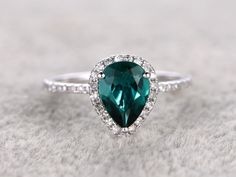 6x8mm Pear Cut Emerald Engagement Ring Diamond Wedding Ring 14k White Gold Halo Pave Thin Design - BBBGEM
