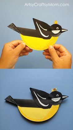 Make a little chirpy bird who doesn't fly, but rocks! All you need for this Rocking Spring Bird Paper Craft is craft paper, Glue & Scissors Bird Paper Craft, Paper Birds, Bird Crafts, Paper Plate Crafts, Paper Crafts For Kids, Crafts For Kids To Make, Preschool Crafts, Fun Crafts, Bird Puppet