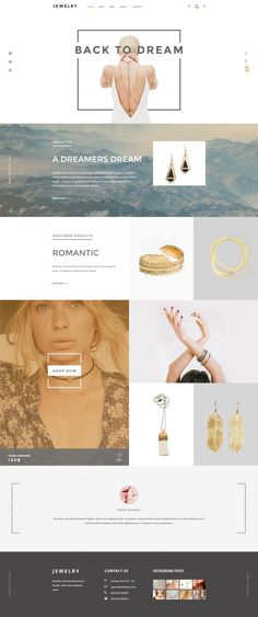 Jewelry- Ecommerce 感覺美美的時尚有質感,很謝謝你的分享! 超厲害的! Fashion Website Design, Blog Design, Site Web Design, Website Design Inspiration, Email Design, Page Design, Brand Design, Web Layout, Layout Design