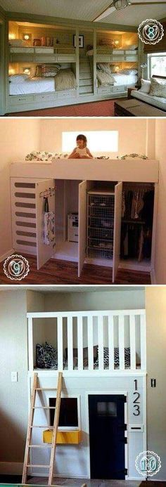 With the very top picture, you could add a row of drawers to the bottom of the top bunks (instead of just the decorations) then make the stairs drawers too!
