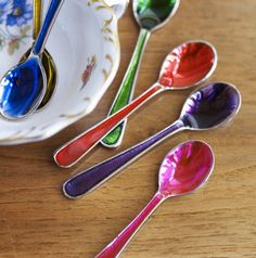 Small Jewelled Spoons - eclectic - flatware - - by Cox & Cox Kitchen Items, Kitchen Dining, Spoon Theory, Cox And Cox, Forks And Spoons, Wine Glass Charms, Inspirational Gifts, Kitchen Accessories, Kitchens