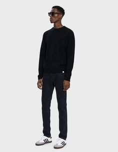 Norse Projects Men's Sigfred Lambswool Sweater in Black, Size Small Need Supply Co, Norse Projects, Photo Poses, Sweater Shirt, Long Sleeve Shirts, Crew Neck, Normcore, Sleeves, Model