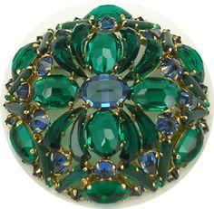 Vintage Schreiner faux sapphire & emerald brooch $259