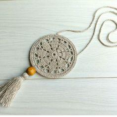 Бижу в стиле бохо. Хлопок, лен, деревянная бусина. Длина шнурка 36см, диаметр медальона 9см, длина кисти 8см. Цена 120грн.  #украшенияручнойработы #бохобижу #бохо #бохостиль #bohostyle #boho #bohojewelry Tassel Necklace, Tassels, Earrings, Tassel