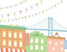 Festival in Chinatown Art Print  Bay Bridge by TomokoMaruyama, $25.00