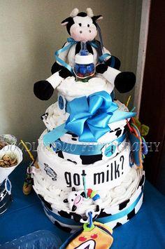 Cute diaper cake for Got Milk theme