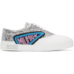 Miu Miu Silver Glitter Patch Sneakers ($665) ❤ liked on Polyvore featuring shoes, sneakers, silver, low profile sneakers, silver sneakers, miu miu shoes, lace up sneakers and lacing sneakers