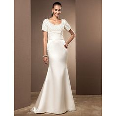 Trumpet/Mermaid Scoop Court Train Satin And Lace Wedding Dress - GBP £ 113.59