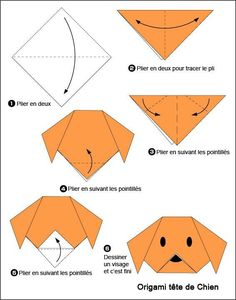 - Easy Origami For Kids Dog(face) - Easy Origami For Kids .Dog(face) - Easy Origami For Kids . Chat Origami, Instruções Origami, Origami Ball, Origami Fish, Origami Folding, Paper Crafts Origami, Hanging Origami, Origami Bookmark, Easy Origami Animals