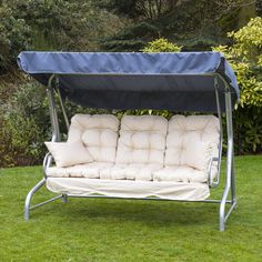 Luxury Cream 3 Seater Garden Swing Seat Hammock With Deep 400 x 300